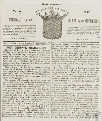 Weekblad van Den Helder en het Nieuwediep 1848-04-17