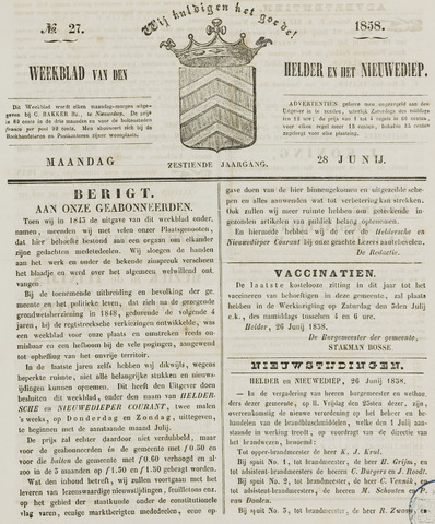 Weekblad van Den Helder en het Nieuwediep 1858-06-28