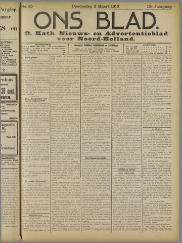 Ons Blad : katholiek nieuwsblad voor N-H 1916-03-02