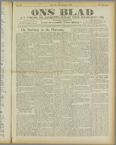Ons Blad : katholiek nieuwsblad voor N-H 1920-02-16