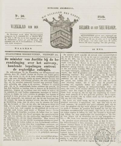 Weekblad van Den Helder en het Nieuwediep 1849-05-14