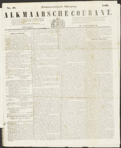Alkmaarsche Courant 1869-11-28