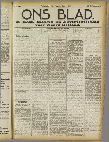Ons Blad : katholiek nieuwsblad voor N-H 1911-11-18