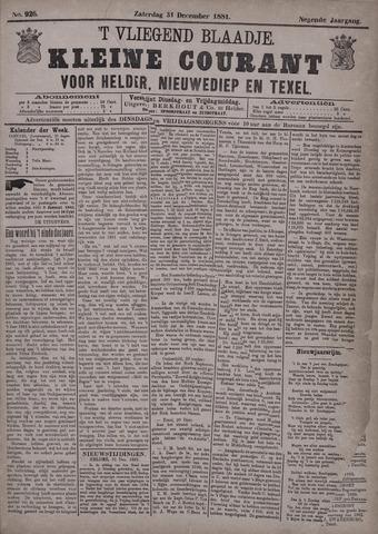 Vliegend blaadje : nieuws- en advertentiebode voor Den Helder 1881-12-31