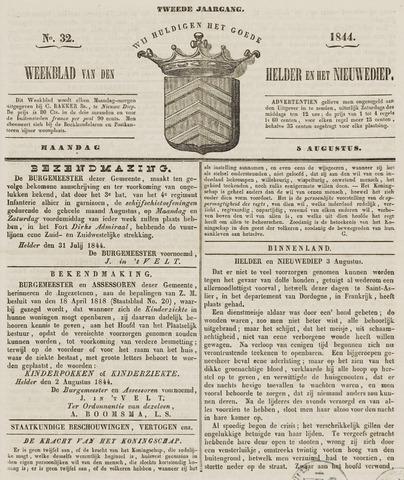 Weekblad van Den Helder en het Nieuwediep 1844-08-05