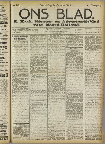 Ons Blad : katholiek nieuwsblad voor N-H 1912-10-24
