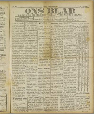 Ons Blad : katholiek nieuwsblad voor N-H 1921-02-04
