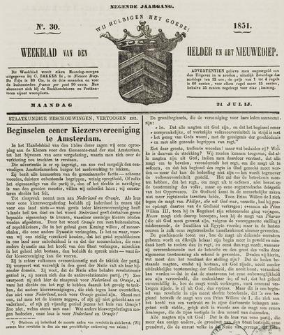 Weekblad van Den Helder en het Nieuwediep 1851-07-21
