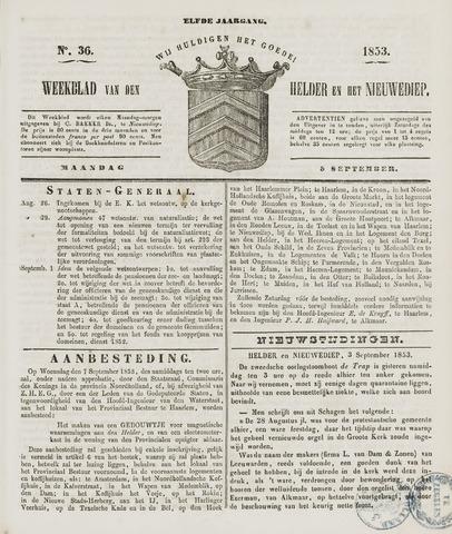 Weekblad van Den Helder en het Nieuwediep 1853-09-05