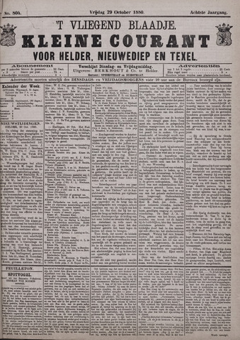 Vliegend blaadje : nieuws- en advertentiebode voor Den Helder 1880-10-29
