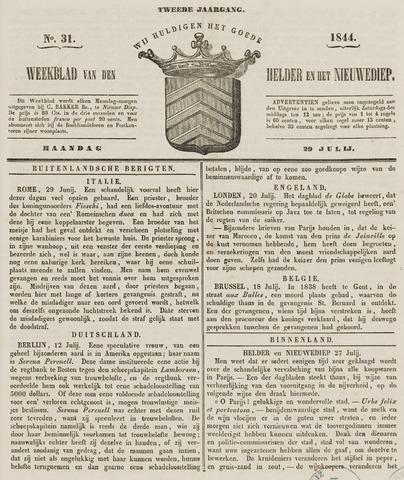 Weekblad van Den Helder en het Nieuwediep 1844-07-29