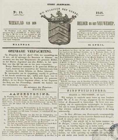 Weekblad van Den Helder en het Nieuwediep 1848-04-24