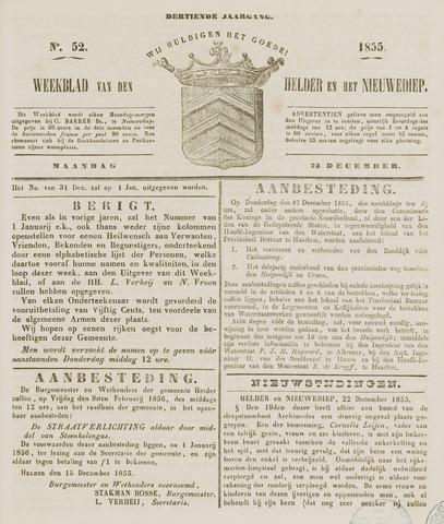 Weekblad van Den Helder en het Nieuwediep 1855-12-24