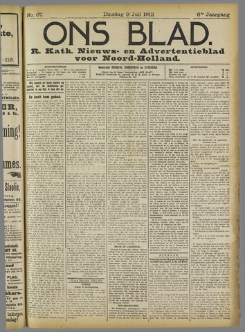 Ons Blad : katholiek nieuwsblad voor N-H 1912-07-09