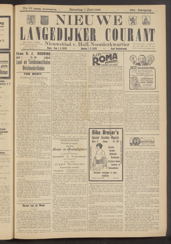 Nieuwe Langedijker Courant 1929-06-01