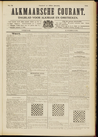 Alkmaarsche Courant 1909-02-12