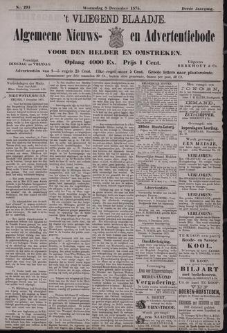 Vliegend blaadje : nieuws- en advertentiebode voor Den Helder 1875-12-08