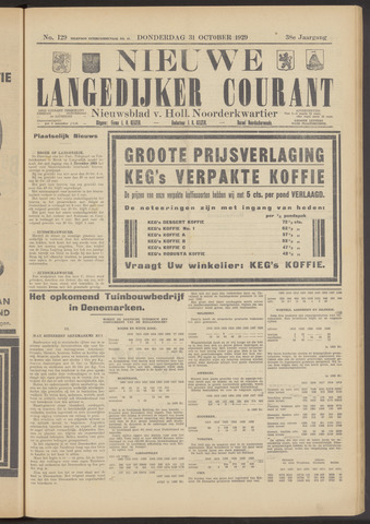 Nieuwe Langedijker Courant 1929-10-31