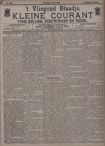 Vliegend blaadje : nieuws- en advertentiebode voor Den Helder 1890-06-04