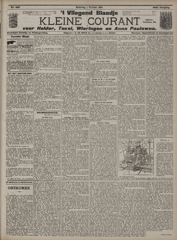 Vliegend blaadje : nieuws- en advertentiebode voor Den Helder 1910-10-01