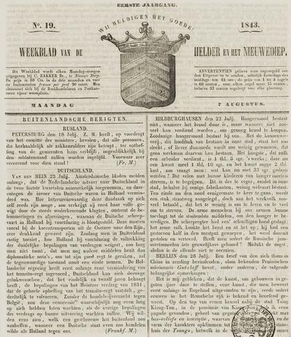Weekblad van Den Helder en het Nieuwediep 1843-08-07