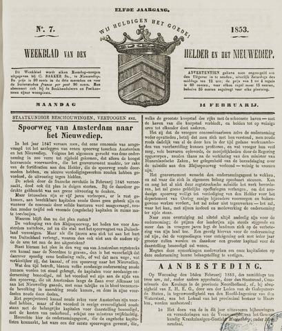 Weekblad van Den Helder en het Nieuwediep 1853-02-14