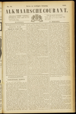 Alkmaarsche Courant 1885-08-09