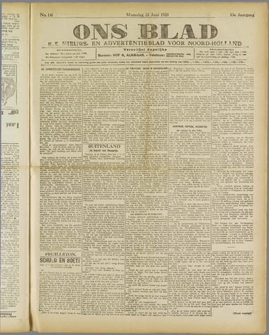Ons Blad : katholiek nieuwsblad voor N-H 1920-06-21