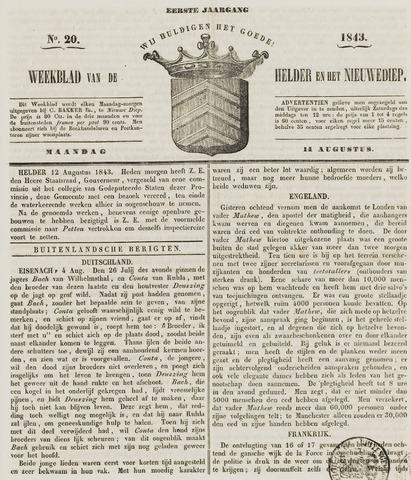Weekblad van Den Helder en het Nieuwediep 1843-08-14