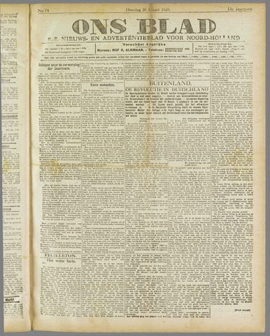 Ons Blad : katholiek nieuwsblad voor N-H 1920-03-30