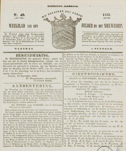 Weekblad van Den Helder en het Nieuwediep 1855-10-01
