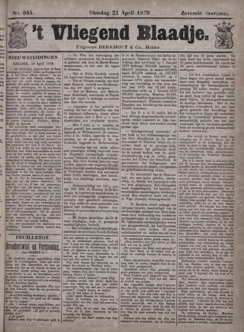 Vliegend blaadje : nieuws- en advertentiebode voor Den Helder 1879-04-22