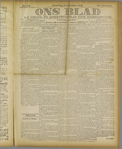 Ons Blad : katholiek nieuwsblad voor N-H 1919-08-09