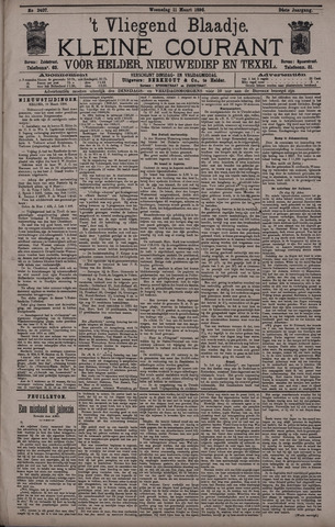Vliegend blaadje : nieuws- en advertentiebode voor Den Helder 1896-03-11