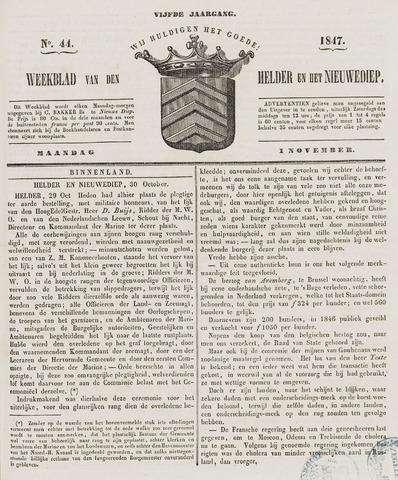 Weekblad van Den Helder en het Nieuwediep 1847-11-01