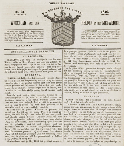 Weekblad van Den Helder en het Nieuwediep 1846-08-03