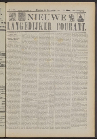 Nieuwe Langedijker Courant 1921-11-22