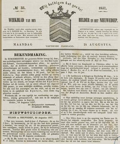 Weekblad van Den Helder en het Nieuwediep 1857-08-24