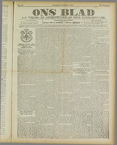 Ons Blad : katholiek nieuwsblad voor N-H 1920-02-17