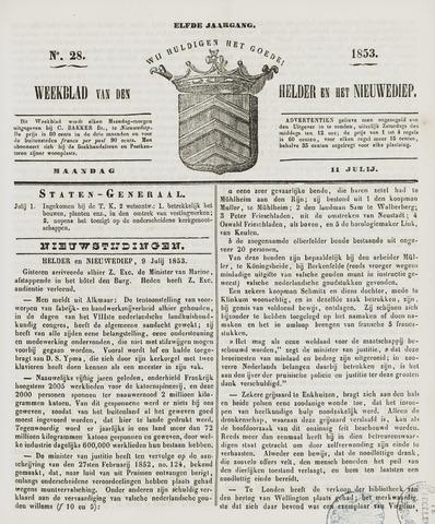 Weekblad van Den Helder en het Nieuwediep 1853-07-11