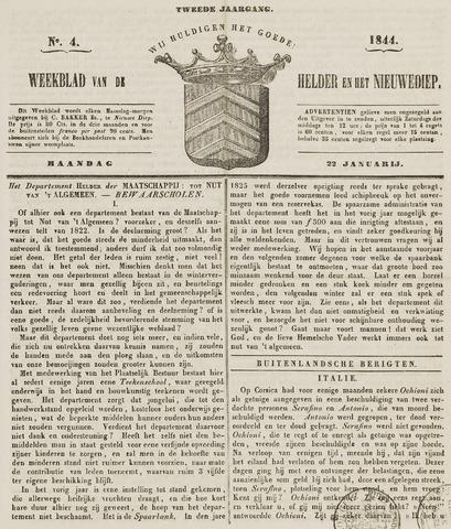 Weekblad van Den Helder en het Nieuwediep 1844-01-22