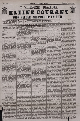 Vliegend blaadje : nieuws- en advertentiebode voor Den Helder 1880-10-22