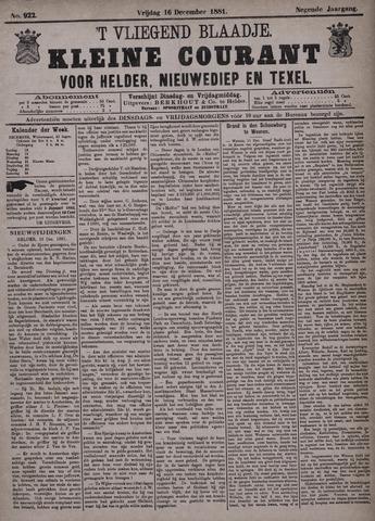 Vliegend blaadje : nieuws- en advertentiebode voor Den Helder 1881-12-16