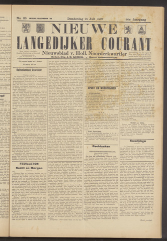 Nieuwe Langedijker Courant 1927-07-21