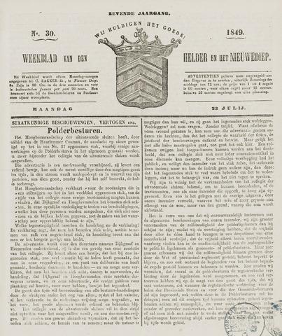 Weekblad van Den Helder en het Nieuwediep 1849-07-23