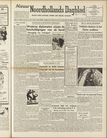 Nieuw Noordhollandsch Dagblad : voor Alkmaar en omgeving 1949-04-02