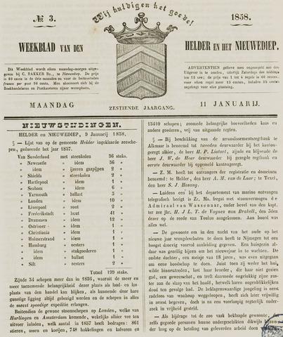 Weekblad van Den Helder en het Nieuwediep 1858-01-11