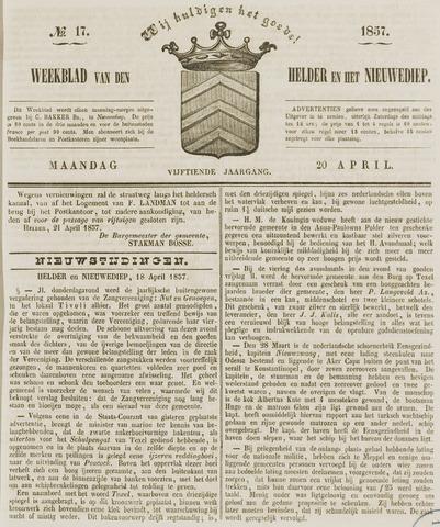 Weekblad van Den Helder en het Nieuwediep 1857-04-20