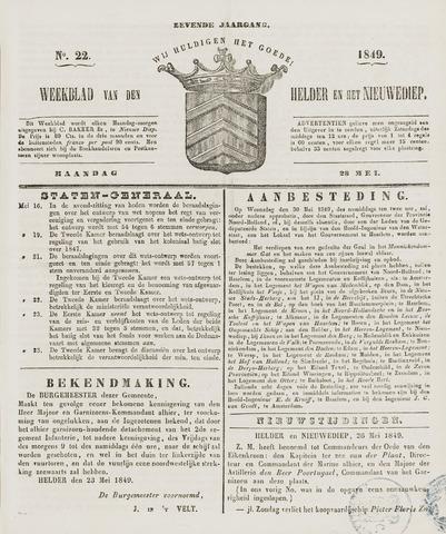 Weekblad van Den Helder en het Nieuwediep 1849-05-28