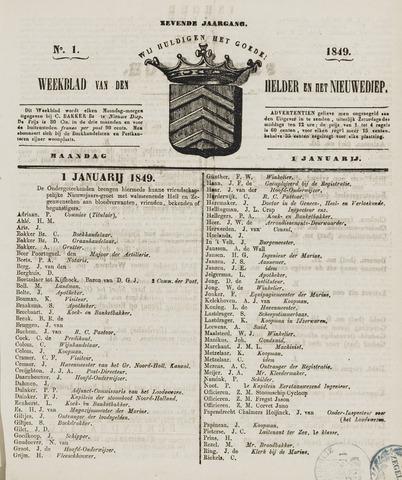 Weekblad van Den Helder en het Nieuwediep 1849-01-01